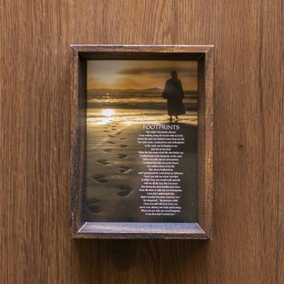 Footsteps Poem with Jesus in Wood Frame