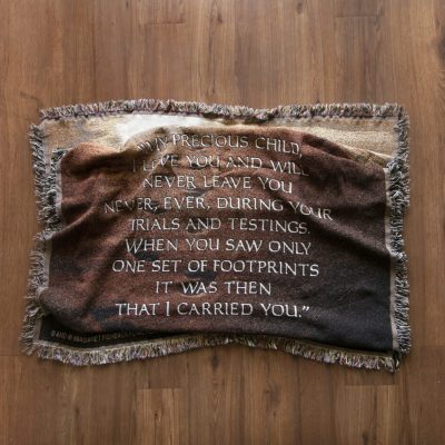 Footsteps poem throw tapestry blanket