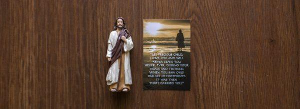 Jesus Figurine with Footprints blessings card
