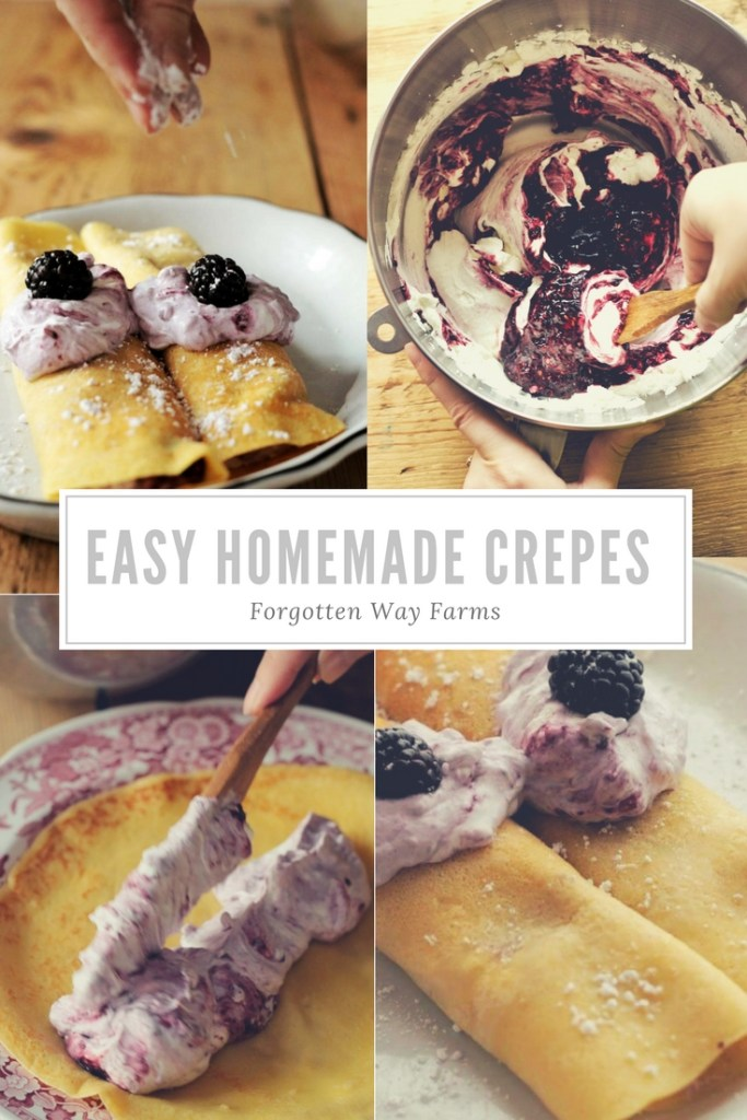 The Best Easy Homemade Crepes Sweet and Savory, at Forgotten Way Farms Blog! LOVE, LOVE homemade Crepes and this recipe looks so easy and simple! Can't wait to try it!!!