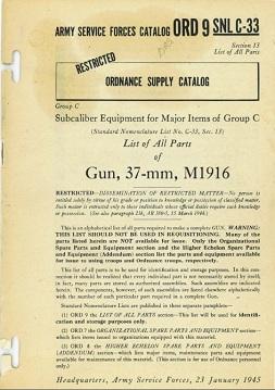 M1916 37mm gun parts catalog