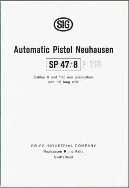 Automatic Pistol Neuhausen SP 47/8 Manual