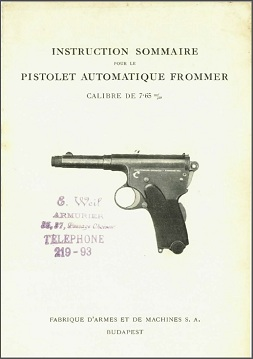 Brief Manual for the Frommer 1910 (French)