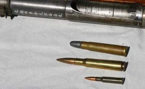 Cartridge comparison - .60 Jingal (top), .50 BMG (middle), 7.62x54R (bottom)