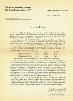 German testing reports on the Bergmann MP32 and MP34 (dated 1933 and 1934)