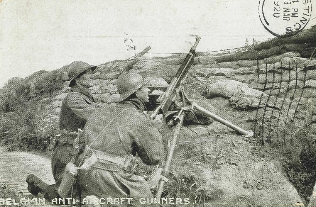 Belgian Antiaircraft gunners with a M1895/14 Colt Potato Digger