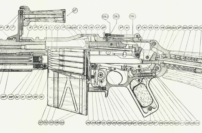 FN-D cutaway showing action and trigger mechanism