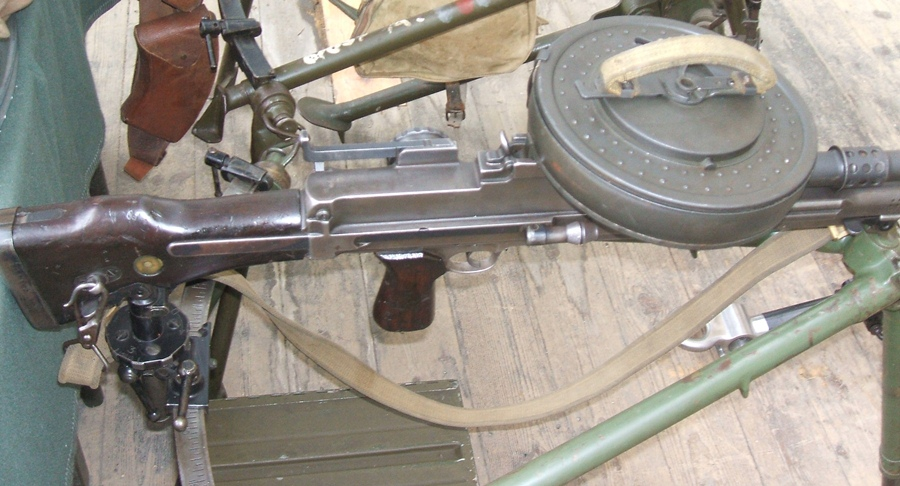 Bren gun with 100-round drum magazine