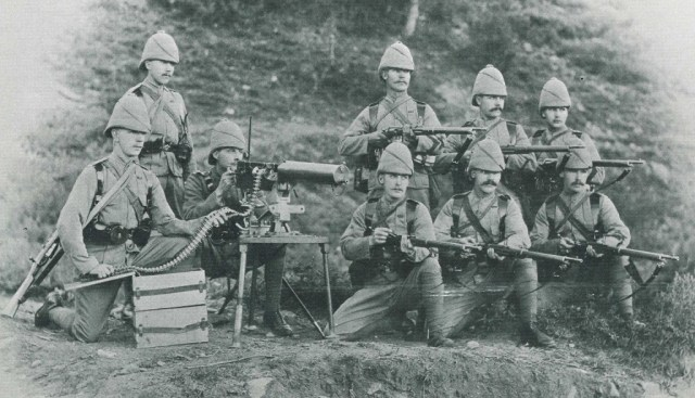 Soldiers of the British Empire with a Maxim and early Enfields
