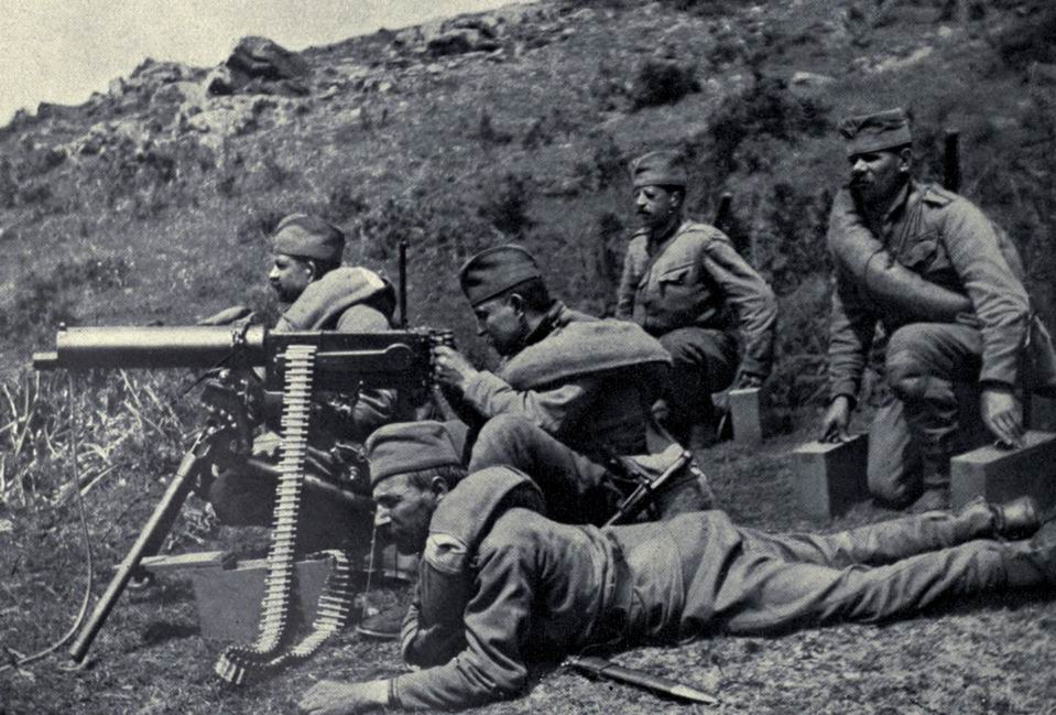 Serbian Maxim gun crew