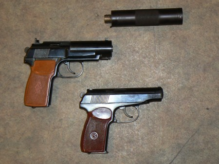PB pistol with front part of the silencer removed compared to standard Makarov PM pistol