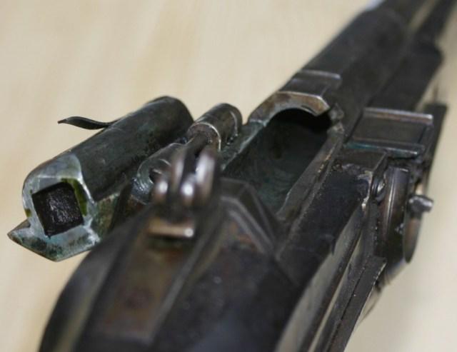 Breechloading wheel lock action open