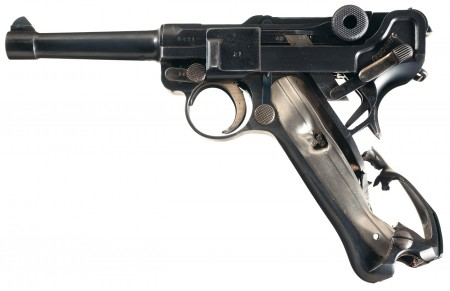 Battle-damages 1915 DWM Luger pistol