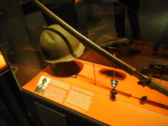 Katana and helmet at the National WWII Museum in New Orleans