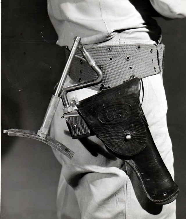 Colt 1911 with unusual folding wire shoulder stock, holstered
