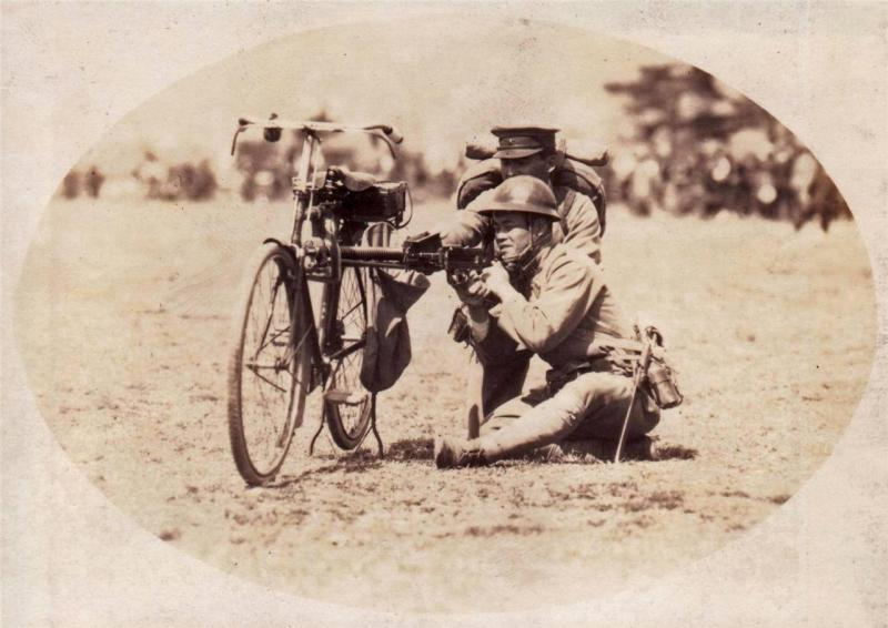 Type 11 Japanese LMG fired resting on a bicycle