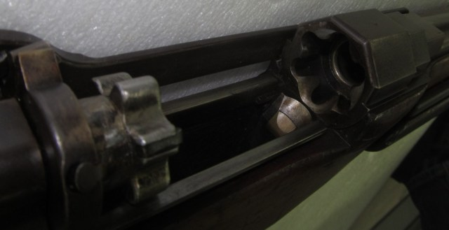 View into the chamber of Fosbery's slide-action shotgun