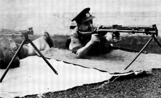 British .303 SMLE Rifle No 1 Mark III fitted with the Rieder Automatic Rifle Attachment and mounted on bipod