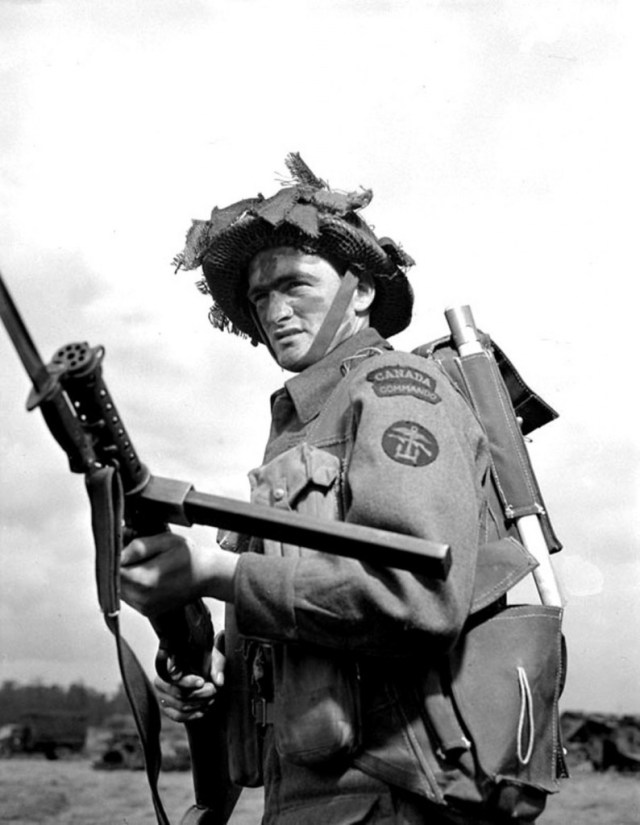 Canadian Commando with a Lanchester SMG
