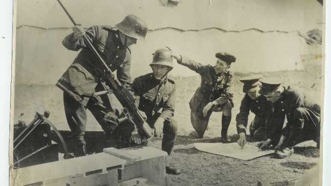 Irish troops unpacking a new Boys Anti-Tank Rifle