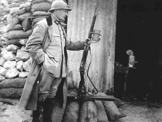 French officer with a Lebel rifle and barrel-mounted light