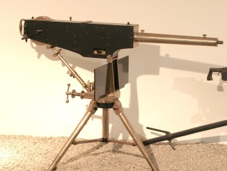 "Maxim ""Prototype"" at the Royal Armouries in Leeds. Note the absence of the rate-of-fire control arm in this version..."