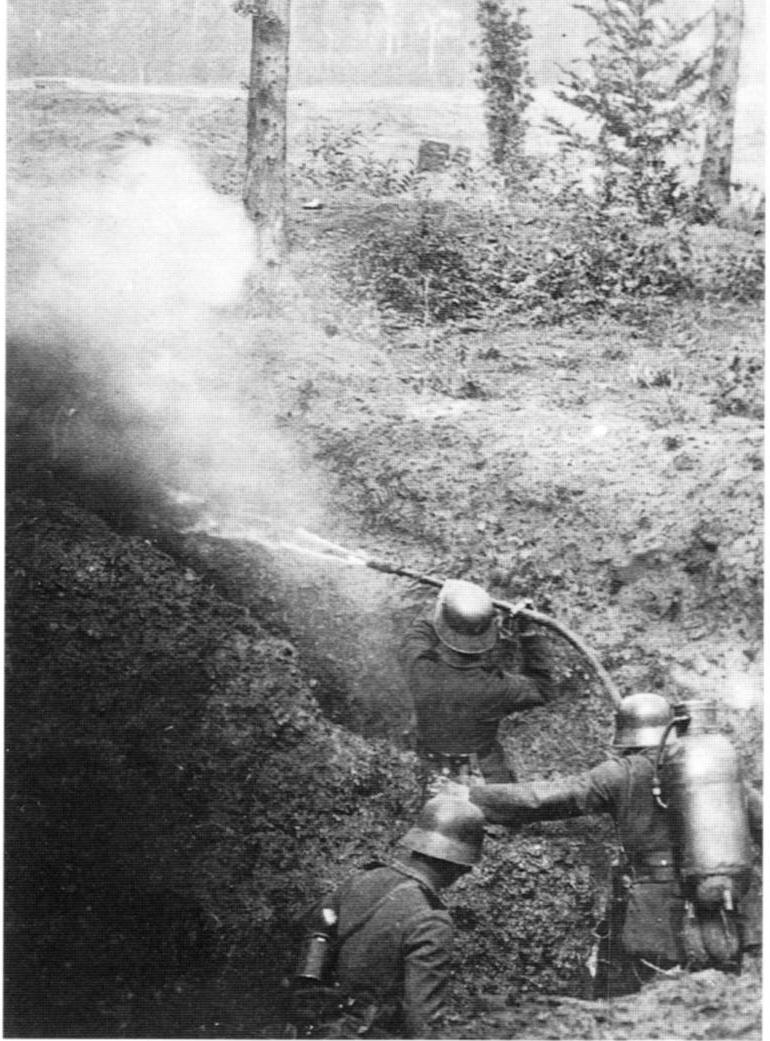 German troops demonstrating use of a WWI flamethrower