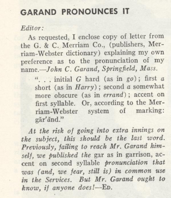 Garand Pronunciation