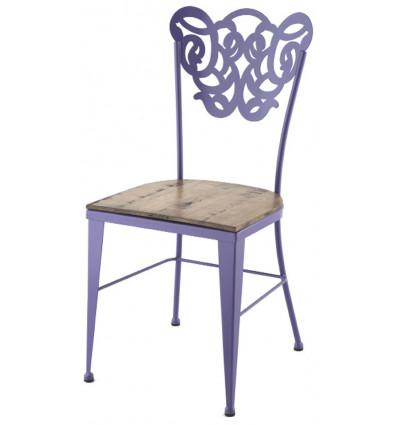 chaise vigo en fer forge avec assise en bois