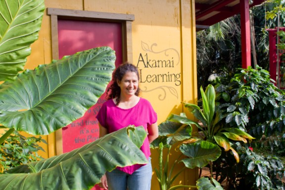 Felicia Alongi Cowden at the door of the Akamai Learning building. Photo by Keri Cooper
