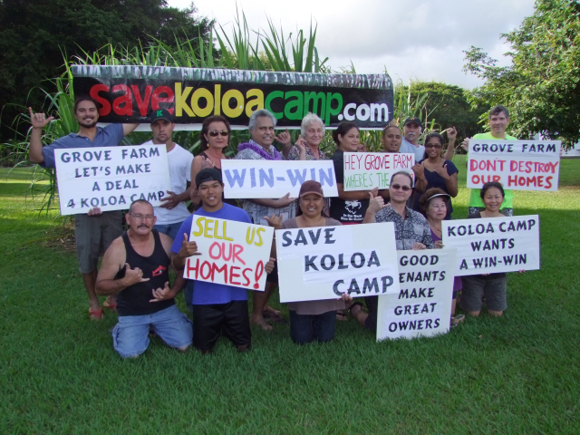 Some Koloa Camp residents rally