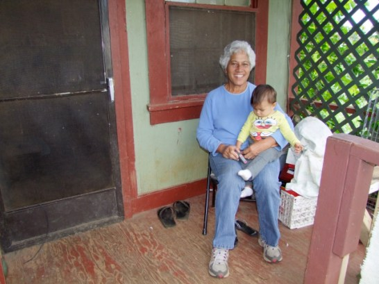 Koloa Camp resident Joey Pajela with her grandchild