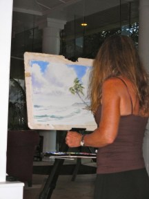 Artist Patrice Pendarvis during her on-site live demonstration.