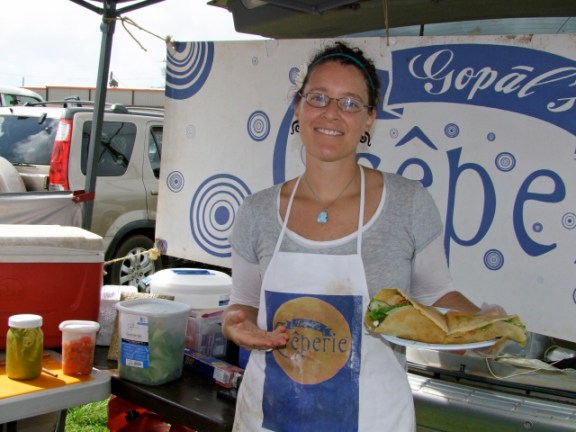 Indy Reeves makes crepes at Gopal's Creperie.
