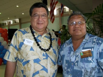 State Sen. Ron Kouchi and Randy Jacintho, Chamber head.