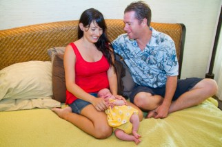 Proud parents Amalia and Adam Gray with their baby daugher