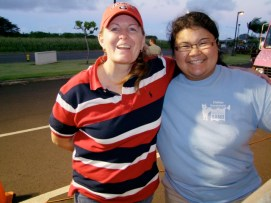 Cohorts in Eat the Street: Jodi McCune (l), PCNC; and Sarah Tochiki (r) director, school band