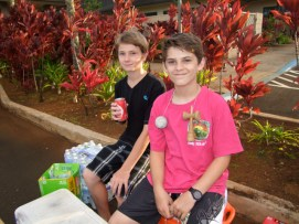 Tyler Brown (l), 8th grader at Chiefess and Clayton McCune, Kaua`i High student, worked the water and soft drinks concession