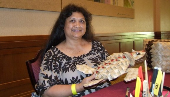 Ku`uipo Kalahiki-Morales, hala weaver, one of the vendors at last year's Na Lima Hana. Photo by Anne E. O'Malley