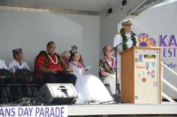 Capt. Nicholas Mongillo, commanding officer of the Pacific Missile Range Facility, speaks during a ceremony following the Kaua`i Veterans Day Parade. Mongillo served as the parade reviewing officer. Over 20 sailors assigned to PMRF participated.
