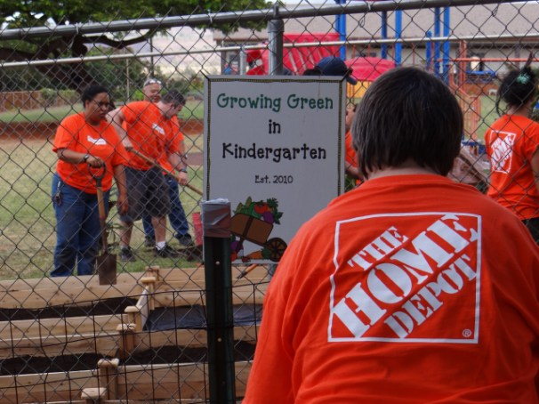 Home Depot workers lend a hand.