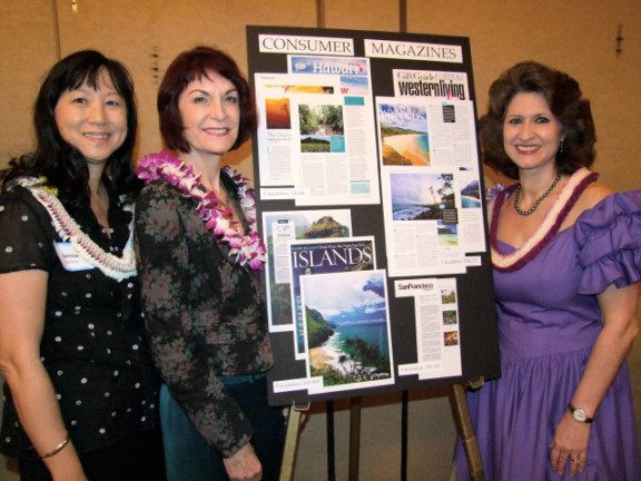 L-R: Kaua`i Visitors Bureau Board Chair Denise Wardlow, Hawaii Tourism Authority Vice-Chair Patty Ewing and Sue Kanoho, KVB Executive Director