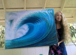 Zoe Art donated paintings for auction in support of Surfrider Foundation.