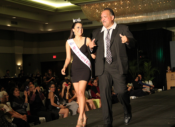 Stephanie Steuri and Mayor Bernard Carvalho Jr. at the Filipino Chamber of Commerce Fashion Show in April.