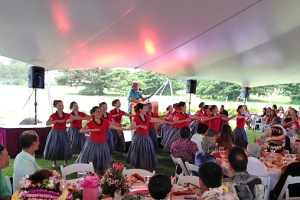 Japanese halau performing to Fred Aki's music at the YWCA annual dinner Friday.