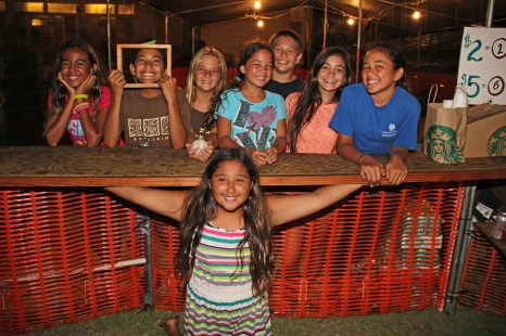 Anela Rapozo, on the foreground, and her classmates, from left to right, Miulana Asai, Hoouka Aquit, Hannah Asquit, Kamalii Haumea-Thronas, Kahiau Hamberg, Kamakea Haumea-Thronas and Laie Smith.