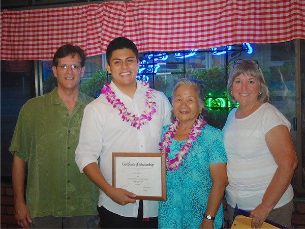 Byron Bath - VP of LAMBDA ALOHA KAUAI Dillon Ancheta Melissa Egusa - President of PFLAG Kauai and Dillon's Grandmother  Photo by Faith Harding