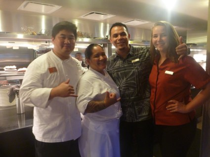 Executive Chef Roger Liang, Chef de Cuisine Russly Morietta, Manager Ivan Salazar, and Abby the Intern.