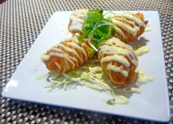 The Potato Shrimp is one of their most popular appetizers. String potatoes wrapped around shrimp and drizzled with wasabi aioli produce different textures and temperatures. Success!
