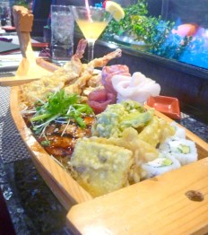 The Bushido Boat is an off-menu item served as a showpiece for variety. It has something for everyone, served during weekend specials and events. Comes with tempura shrimp and veggies, grilled ahi, California roll and sashimi roses.